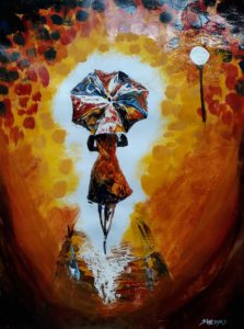 The Lady with Umbrella Painting