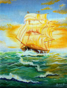 Sea Ship Acrylic Painting
