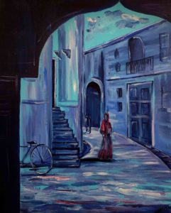 A street through door figurative paintings