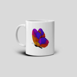 Printed coffee butterfly mug